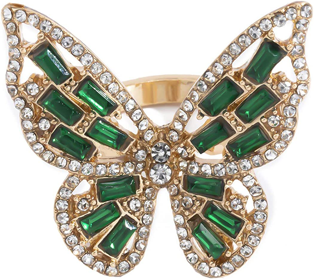 Crysly Boho Butterfly Knuckle Rings Gold Green Crystal Midi Joint Finger Ring Party Sparkling Statement Rings for Women and Girls