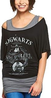 Camiseta Harry Potter para Mujer, Doble Capa, Bola Yule, Hogwarts, Gris Negro - XL