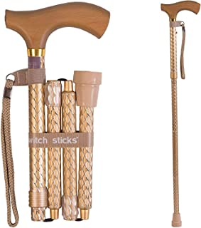 Switch Sticks Adjustable Folding Walking Cane and Walking Stick Collapses and Adjusts from 32 to 37 inches, Engraved Pearl Gold