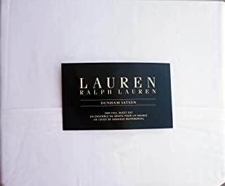 Lauren Ralph Lauren 4 Piece Cotton Sheet Set Dunham Sateen Solid White (Full)
