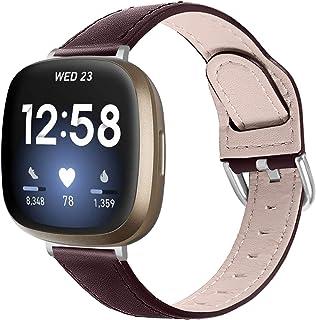 Versa 3 Leren Banden, TechCode slank lederen horlogebandje met klassieke metalen gesp Polsbandaccessoires voor Fitbit Vers...