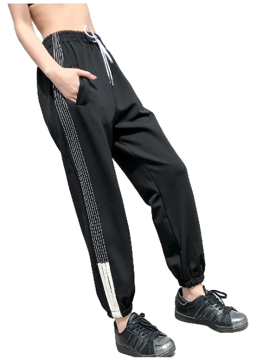 一般蒸し器不名誉[パリド] サイド ライン 腰ひも ダンス パンツ スウェット S ~ 2XL レディース
