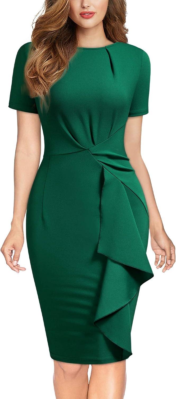 Knitee Women's Vintage Ruched Ruffles Short Sleeve Work Pencil Dress