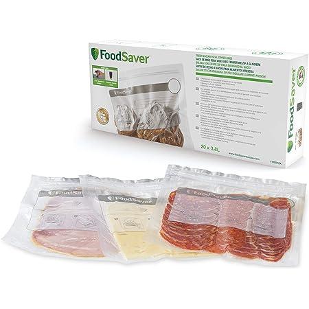 FoodSaver sacs de mise sous vide réutilisables avec fermeture zip à glissière | Pour appareils de mise sous vide alimentaire FoodSaver | Sans BPA | 3,8l | Lot de20