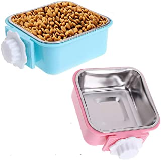 DELFINO Crate Dog Bowl, Removable Stainless Steel Water Food Feeder Bows Cage Coop Cup for Cat Puppy Bird Pets for Puppy, ...