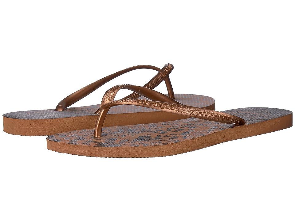 Havaianas Slim Animals Flip Flops (Rust) Women