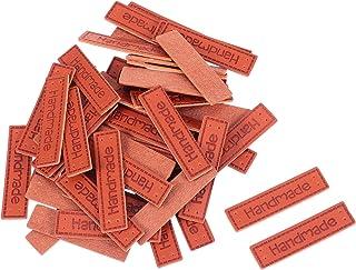 Artibetter 50 peças de couro PU etiqueta de roupas feitas à mão com orifícios de adorno de malha, acessórios faça-você-mes...
