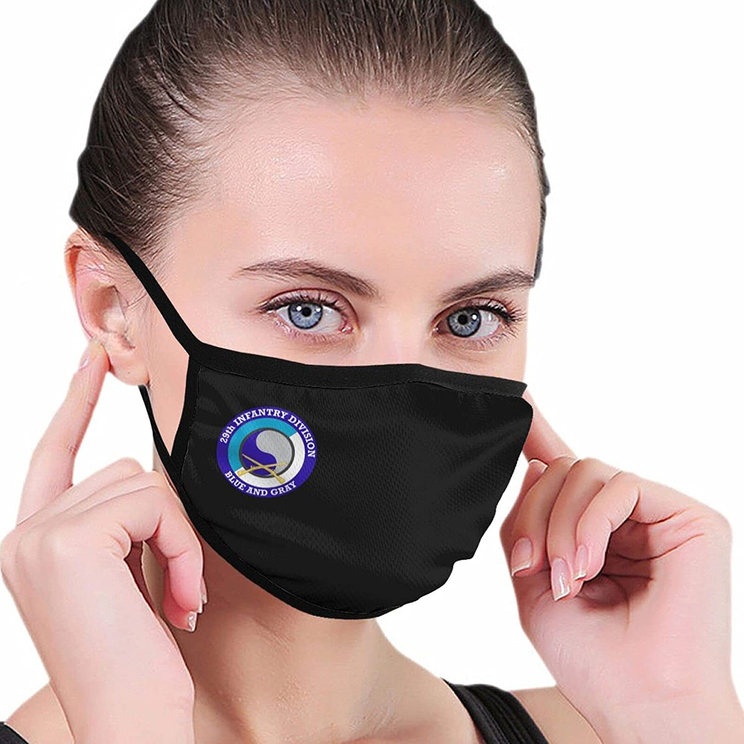 29th Infantry Division with Crossed Rifles Fashion Washable Breathable Reusable for Women Balaclava Face Mask Black