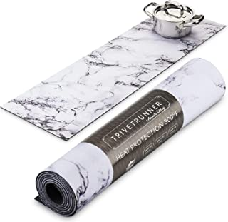 Trivetrunner:Decorative Trivet and Kitchen Table Runners Handles Heat Up to 300 F Protects Countertops and Surfaces from Hot Plates, Pots and Dishware (White Marble)