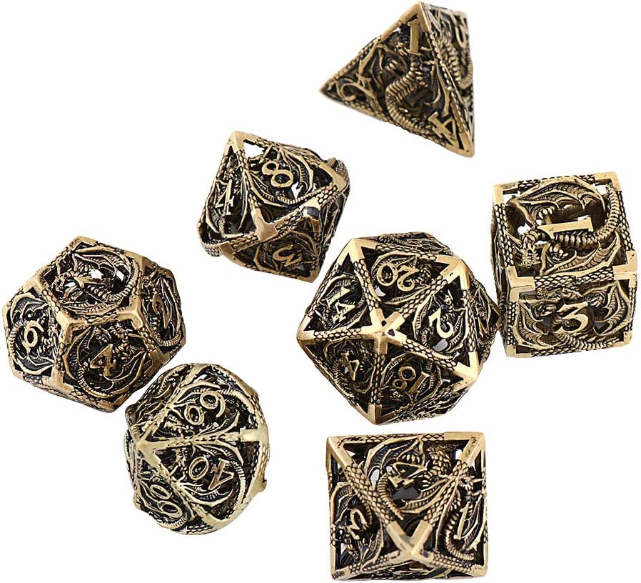 hong hui Metal Dice DND Set Role-Playing dice D/&D 7 Pure Copper Hollow polyhedral dice Suitable for Dungeons and Dragon RPG Explorers Savage World and Table Games