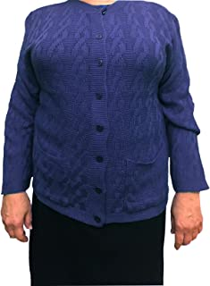 Womens Long Sleeves Crew Neck Cable Knit Button Down Cardigan with Front Pockets (See More Sizes)