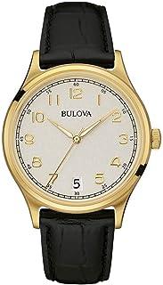 Bulova - Classic Vintage - Reloj con Mecanismo de Cuarzo para Hombre, Esfera analógica, Correa de Cuero Negro