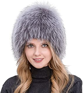 Women's Winter hat Natural Fox Fur Grass hat Knit Liner Fox Fur hat QHL
