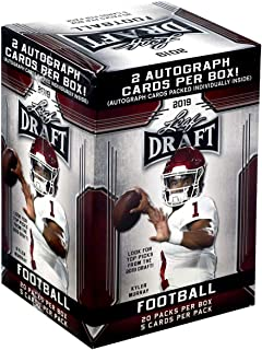 2019 LEAF NFL DRAFT Series Factory Sealed Blaster Box of Packs with 2 GUARANTEED Autographed Cards per box! One of the First 2019 Football Products on the market!