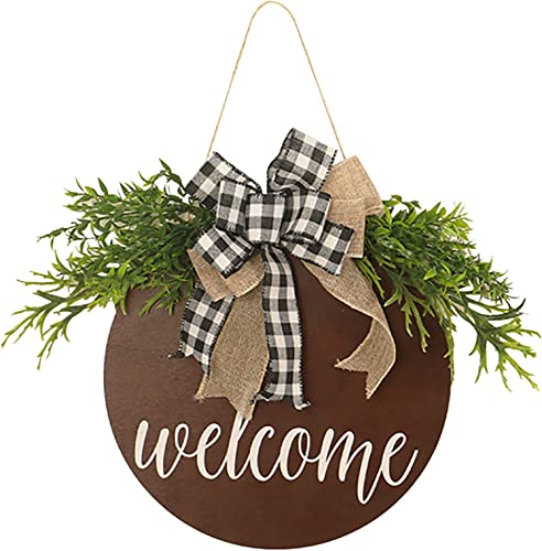 """high quality Welcome Sign online Spring Wreath for Front Door Round Wood Sign Hanging Welcome discount Sign for Farmhouse Porch Seasonal Welcome Sign Wreath Front Door Decoration, 12"""" outlet online sale"""