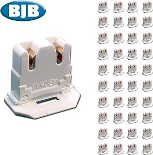 BJB LH0619 UL Listed Non-Shunted 26.313.1016.50 Slide On U-Lamp Holder Medium Bi-Pin Socket for Fluorescent Tube Light Replacement-Low Profile (40)