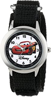 Disney Kids' W000093 Cars Time Teacher Stainless Steel Watch with Black Nylon Band