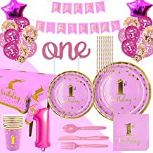 Trgowaul 1st Birthday Party Supplies - Pink Disposable Dinnerware Set, Paper Plates, Napkins, Cups, Forks, Knives, Spoons, Cake Topper, Tablecloth, Straws and Balloons Decorations Banner, Serves 16