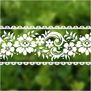VEELIKE White Wallpaper Border Stick and Peel Film Lace Removable Waterproof Wall Waist Line Sticker for Home Wall Decor B...