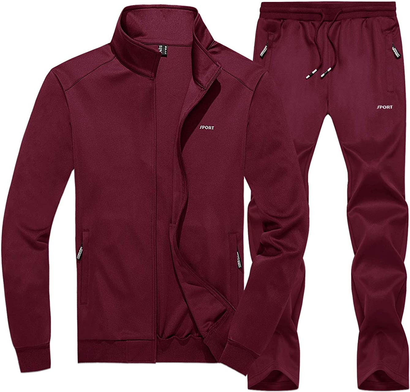 CRYSULLY Men's Tracksuits Long Sleeve Running Max It is very popular 61% OFF Zip A Jogging Full