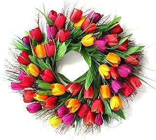 SLDHFE Couronne de tulipes artificielles en soie avec feuilles vertes - 45 cm