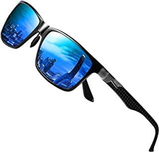 DUCO Mens Carbon Fiber Temples with Classic Rectangular Polarized Metal Frame Sunglasses 8206