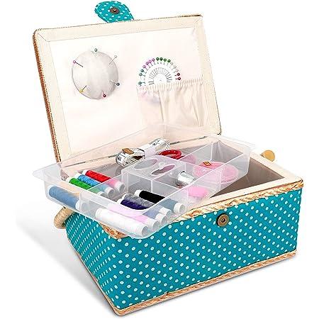 Navaris Boîte à Couture Complète - Boîte à Coudre 24,5 x 17,5 x 12,5 cm - Kit de Couture 76x Accessoire avec Poignée Motif Points