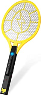 Flexzion Electric Mosquito Zapper Racket Battery Operated, Rechargeable Bug Insect Killer/Fly Swatter USB Charging, for Bedroom Patio Bites Yard Boat Camping Car Decks/Indoor Outdoor - Yellow