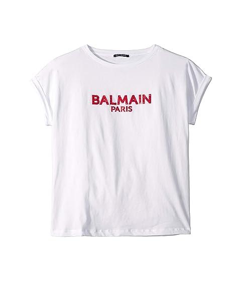 Balmain Kids Short Sleeve Sequin Logo Tee (Big Kids)