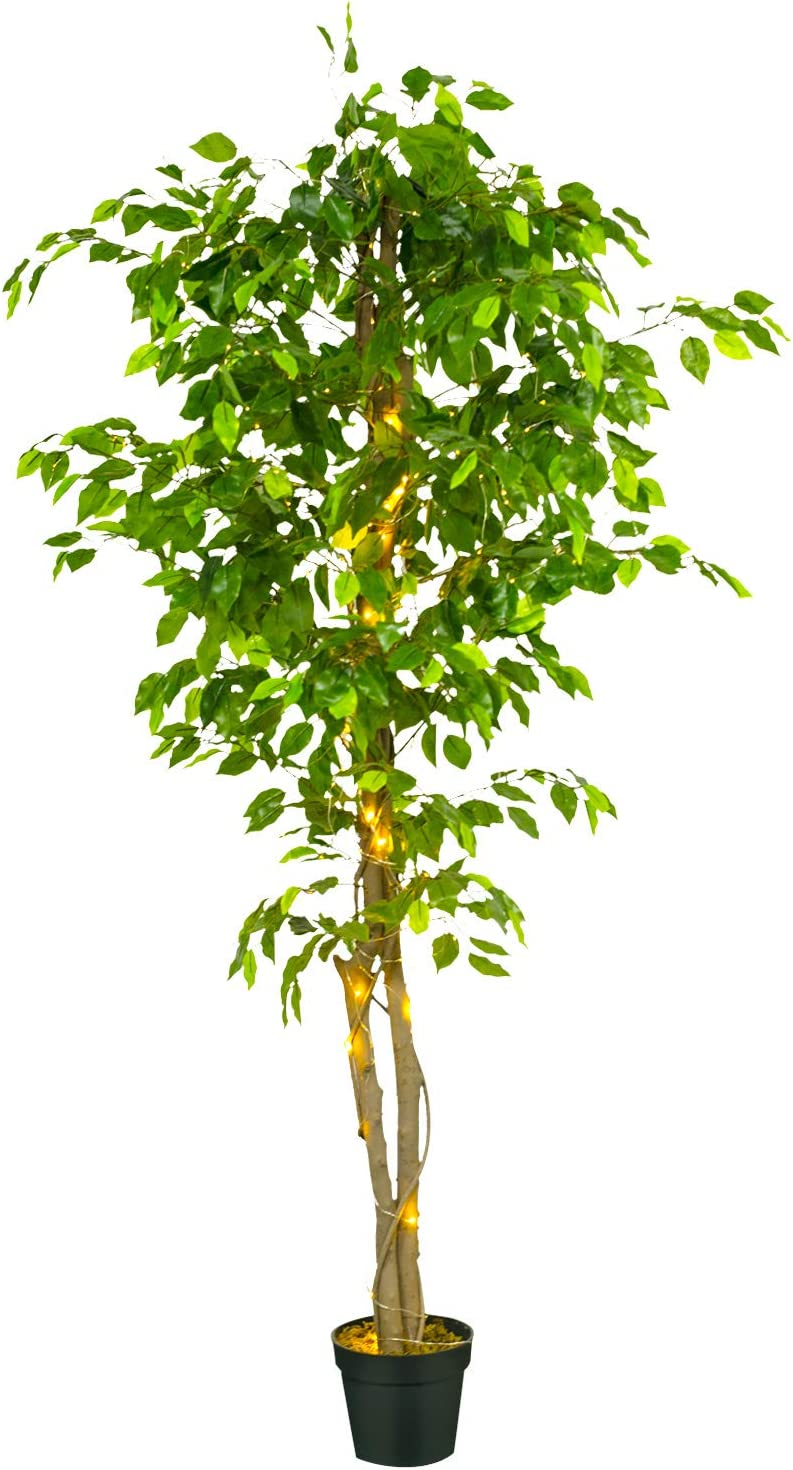 GOESWLL 6.5ft 200LED Ficus Artificial Tree Light with Plastic Nursery Pot, Fake Plant LED Light for Office Home Kitchen, Artificial Plants for Living Room Decor