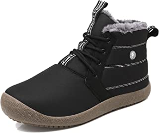 EXEBLUE Winter Snow Boots, Mens Women's Water-Resistant Outdoor Boots Fur Lining