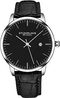 Stuhrling Original Men's Quartz Date Watch, Silver Tone Alloy Case, Black Dial, Black Leather Strap - 3997.2, Analog Display