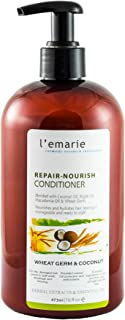 L'emarie Wheat Germ and Coconut Oil Hair Conditioner w/Argan Oil and Macadamia Oil for Dry, Damaged Hair and Color Treated Hair   Hair Conditioner for Men and Women 16 Onces
