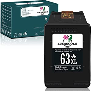 LUCASCOLO Remanufactured Ink Cartridges Replacement for HP 63XL 63 XL Black to Use with Officejet 3830 4650 5255 5252 Envy 4520 4510 4512 4513 DeskJet 1112 3630 3632 3637 3634 2130 2132 3633 Printer