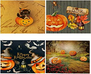 4PCS Halloween Placemats, Ghosts, Black Cats, Bats, Heat-Resistant Washable Mats, Cotton and Linen Waterproof Kitchen Dining Decoration