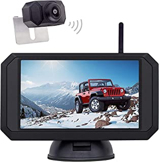 $81 » 1080P Backup Camera and 5 inch Monitor Kit Digital Wireless Rear View Camera for Car SUV Truck RV Built-in Transmitter wit...