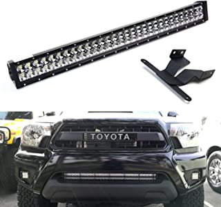 iJDMTOY Lower Grille 30-Inch LED Light Bar Kit For 2005-15 Toyota Tacoma, Includes (1) 180W High Power LED Lightbar, Lower Bumper Opening Mounting Brackets & On/Off Switch Wiring Kit