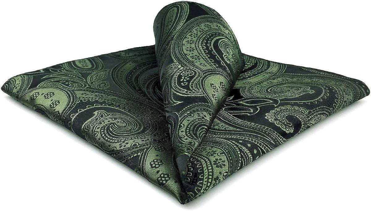 SHLAX&WING Mens Pocket Sqaure Hanky Dark Green Paisley Large 12.6 inches Silk