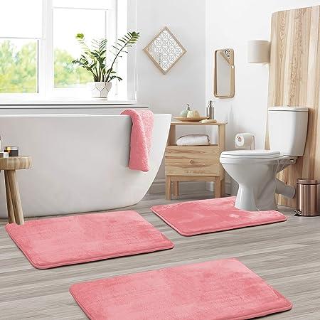 Poodle Silhouette Absorbent Memory Foam Soft Shower Bath Rugs Contour Mat and Lid Cover,Non Slip Velvet Bathrug,Shower Toilet Bathmats Carpet 3-Pack Bath Mat Set