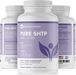 Pure 5-HTP (5-Hydroxytryptophan) Plus GABA - Serotonin Support for Sleep, Mood & Stress Management - 60 Veggie Caps - Pure...