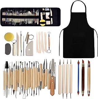 Kit d'outils poterie, argile polymère céramique, kit sculpture, modelage, poterie, d'argile sculpture avec sac rangement, ...