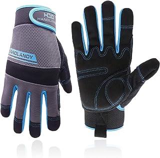HANDLANDY Utility Work Gloves Mens & Women, Safety Mechanic Working Gloves Touch Screen, Flexible Breathable Yard Gloves (...