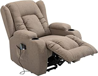 Electric Massage Chair Armchair Adjustable Recliner Sofa Lift Motor 8 Point Heating Linen Fabric Seat Tan