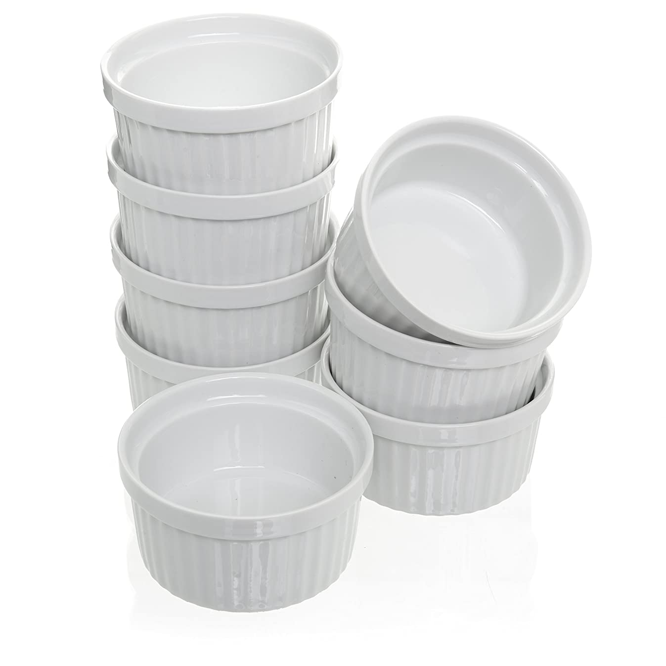 Set of 8,4 oz Porcelain Ramekins Bakeware Set, White Porcelain Baking Cups for Pudding, Creme Brulee, Custard Cups and Souffle Dishes, Durable 4 ounce Ramekins for Baking, Cooking, Serving and More