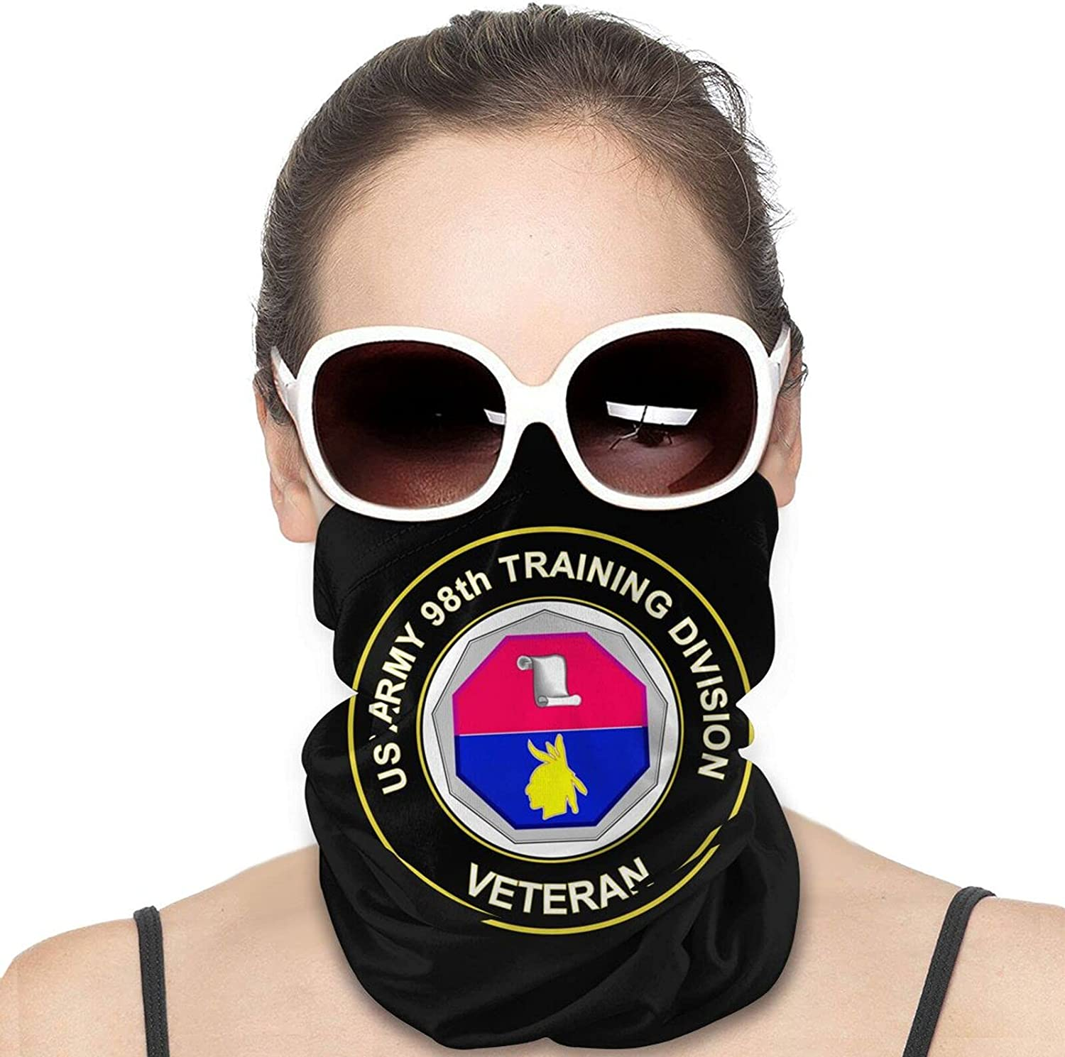 U.S. Army Veteran Training Division Unit Crest Round Neck Gaiter Bandnas Face Cover Uv Protection Prevent bask in Ice Scarf Headbands Perfect for Motorcycle Cycling Running Festival Raves Outdoors