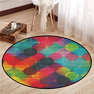 Bedroom Round Rugs,Geometric Circle,Psychedelic Digital Futuristic Spherical Figures Funky Grunge Display,Rustic Home Decor,2'7