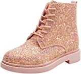 Dinglong Women's Glitter Ankle Booties Ladies Shine Lace-up Flat PU Leather Boots Female Casual Martin Shoes