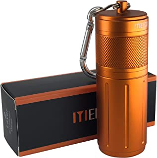 MEECN Two-Layer Aluminum Waterproof Pill case, Pill Holder can Store Pills Anything Sizes -Storage Bottle,The Size: 1.6 x 1.6 x 4.4 in (Orange)