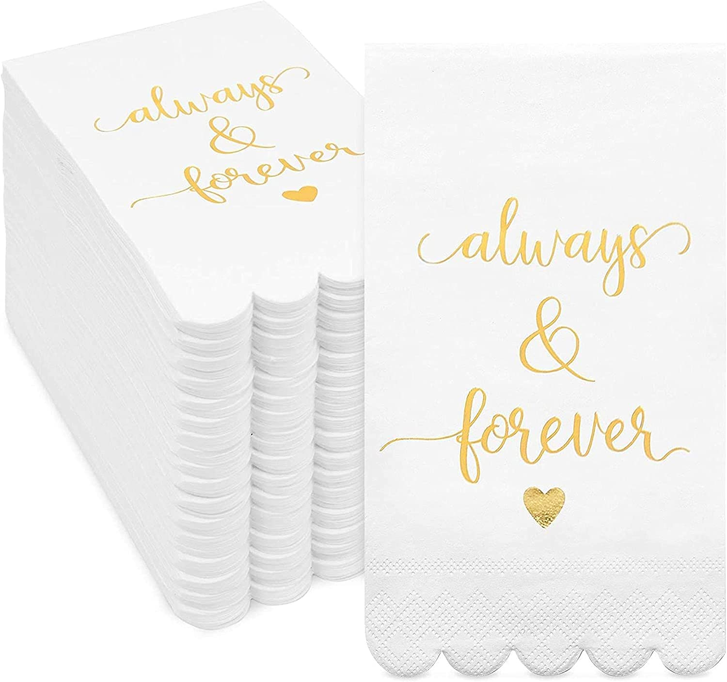 White Scalloped Napkins for Wedding Reception, Always & Forever (8 x 4 In, 100 Pack)