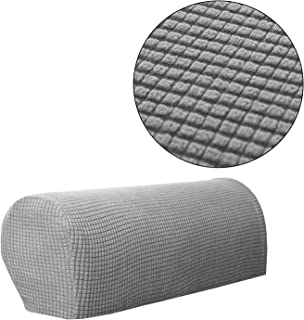 Sofa Armrest Cover Stretch Armchair Slipcover Furniture Armrest Protector for Sofa Chair Recliner Couch Loveseat Set of 2 (Light Gray)
